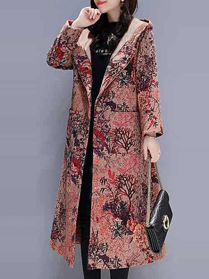 Women's Casual Printed Long Sleeve Hooded Coat gender:female, season:autumn,winter,spring, texture:polyester, pattern_type:printing, sleeve_length:long sleeve, style:japanese and korean style, collar_type:hat collar, dress_occasion:daily, bust:114,clothing length:110,shoulder width:40,