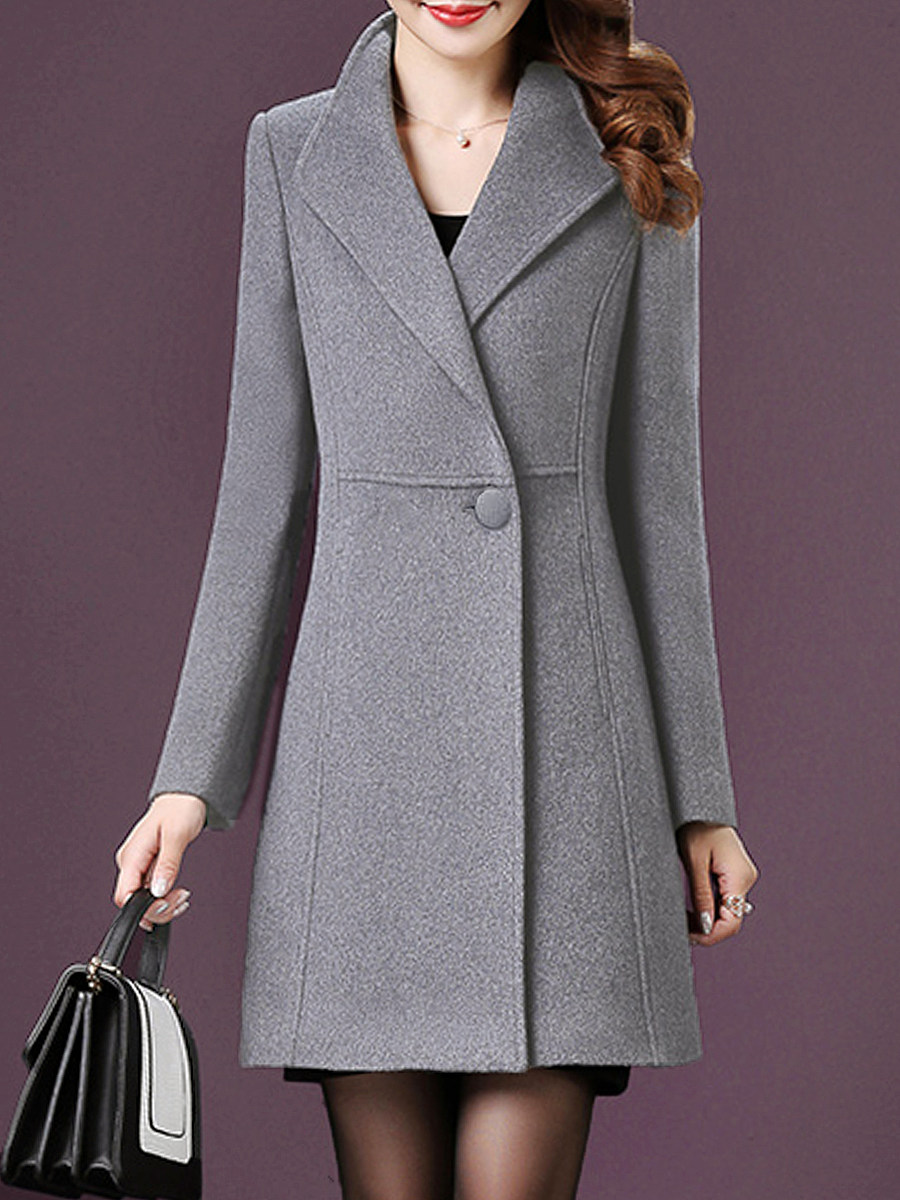 Casual Pure Color Lapel  coat - from $30.95