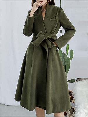 Fashion Women's Solid Color Fold Collar Jacket gender:female, season:autumn,winter,spring, texture:woolen, sleeve_length:long sleeve, style:japan and south korea, collar_type:fold collar, dress_occasion:daily, bust:94,clothing length:105,shoulder width:37,