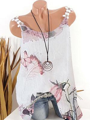 Round Neck Printed Sleeveless T-Shirt, 11297261