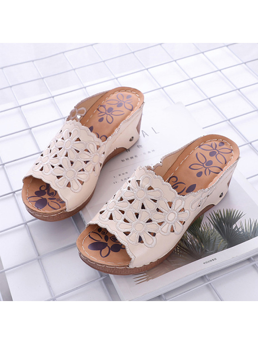 BerryLook Casual embroidered hollow wedge heel women slippers