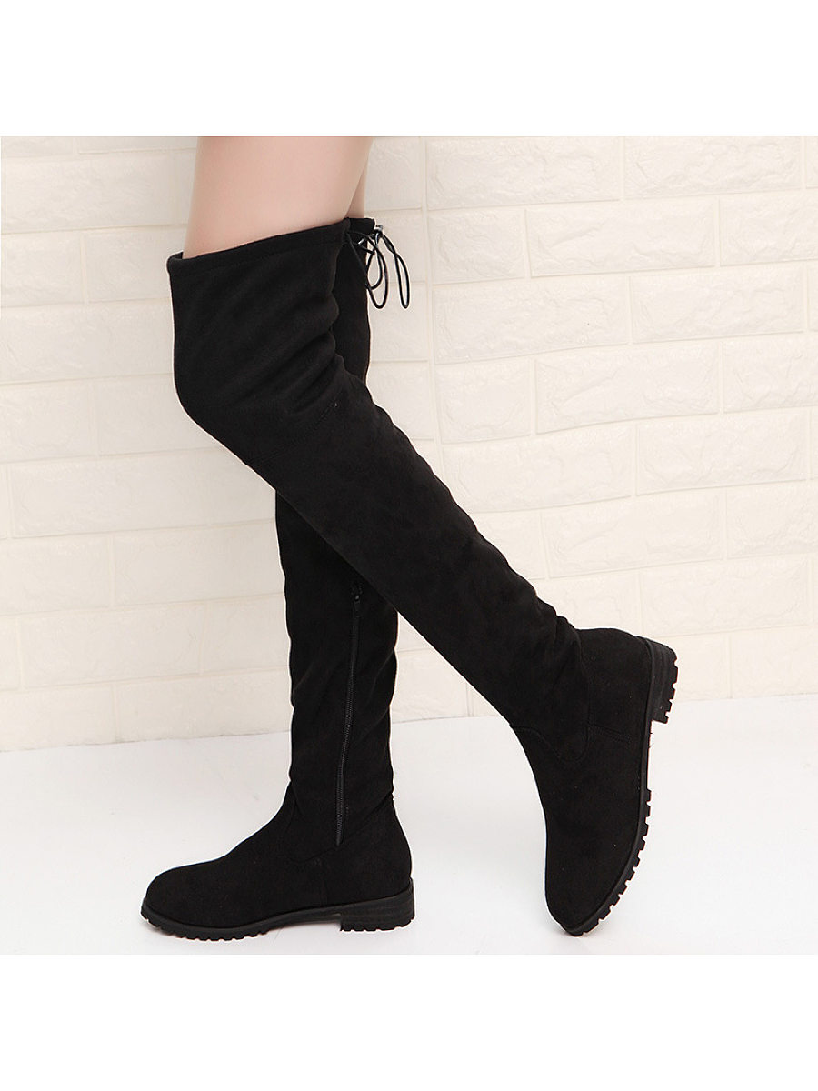 Fashion ladies pure color flat overknee boots