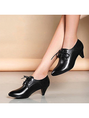 Fashion ladies pointed lace-up black martin boots