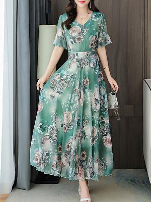 Summer Print Short-sleeved Dress, 27570284, BERRYLOOK  - buy with discount