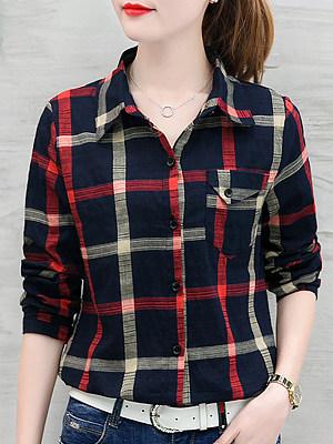 Turn Down Collar Plaid Long Sleeve Blouse, 10481178
