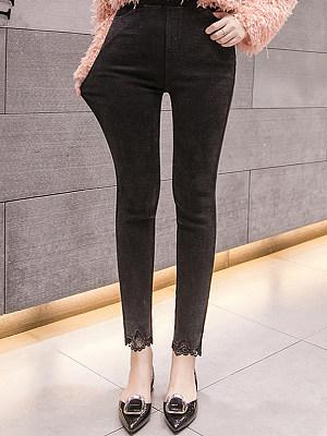 Fashion high waist large size stretch lace leggings