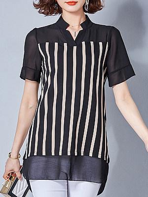 V Neck Patchwork Striped Short Sleeve Blouse, 11175361