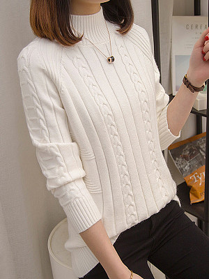 Buy Pullover clothes shopping near me, online stores from Berrylook Apparel & Accessories>Clothing>Shirts & Tops, Berrylook Half High Collar Plain Long Sleeve Knit Pullover is well made of Knitted and it\\\'s features are: shoulder width:39,bust:94,length:59,sleeve length:60 (in inches). Find best knit cardigan, fall sweaters at Berrylook.com
