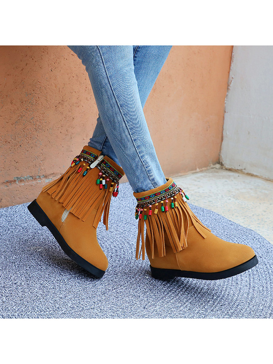 Retro bead fringe solid women's Boots - from $31.95
