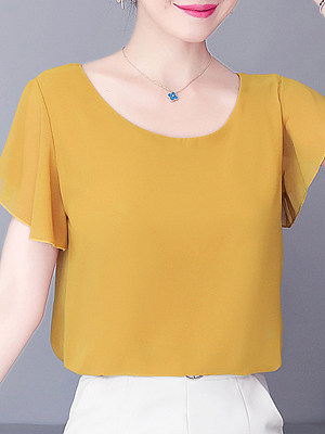 Round Neck Plain Two-Way Short Sleeve Blouse, 11265460