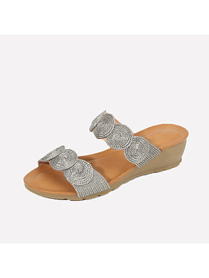 Gold-lined Casual Fashion Wedge Sandals, 11065925