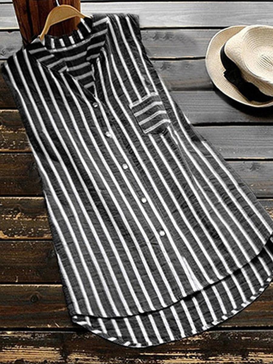 BerryLook V Neck Striped Sleeveless Blouse
