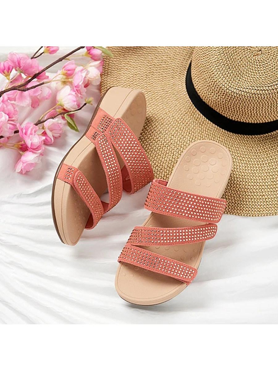 BerryLook Women's comfortable thick bottom rhinestone slippers