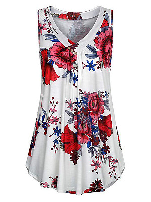 V Neck Floral Buttons Sleeveless T-shirt, 11546648