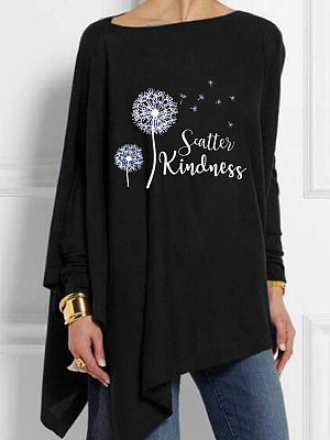 Round Neck Print Casual Loose Fitting Long Sleeve T-Shirt, 24710432