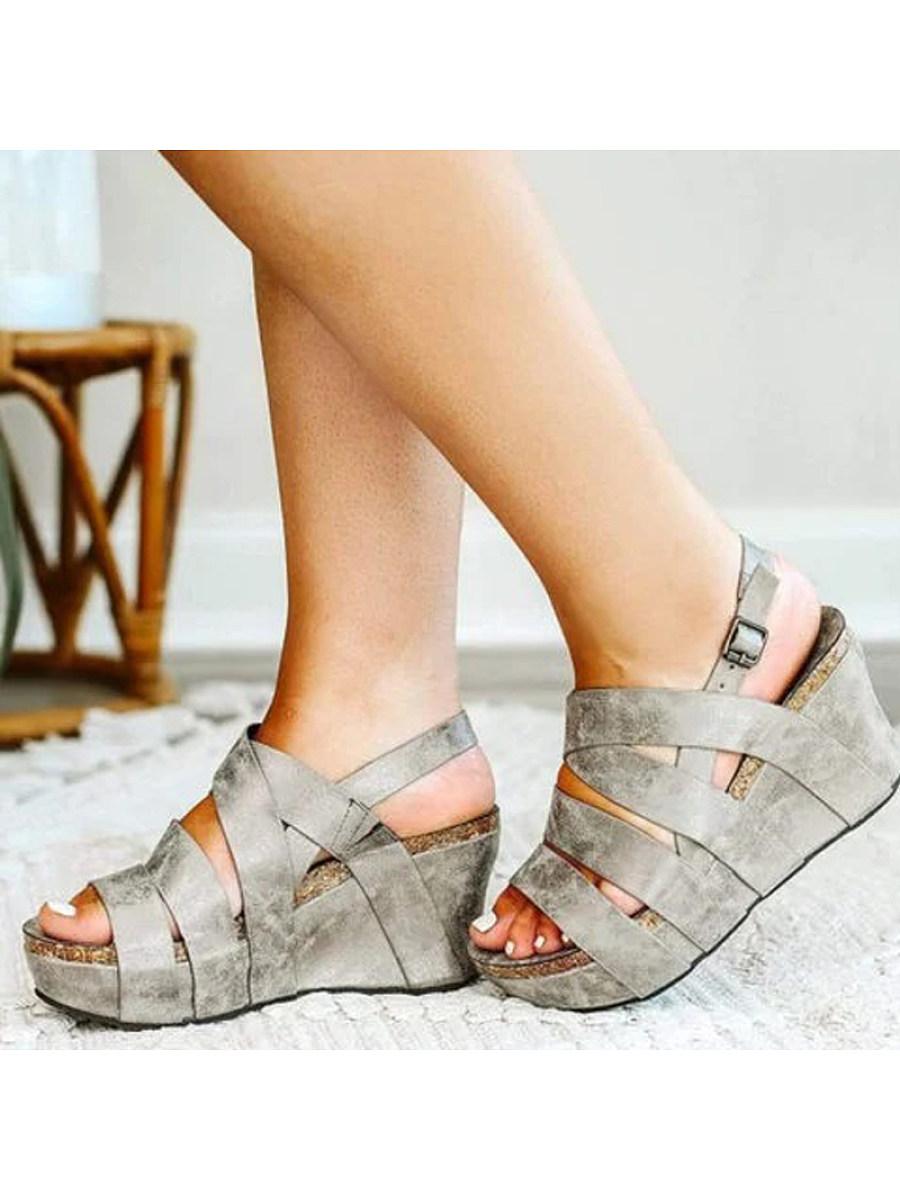 BerryLook Women's wedge casual platform sandals