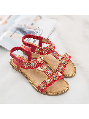 Berrylook Bohemian Women's Round Toe Colored Diamond Flat Sandals clothes shopping near me, sale,