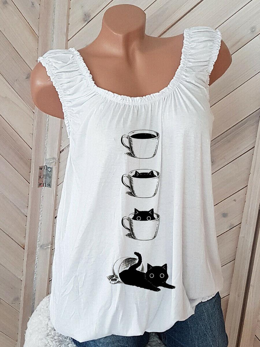 Cat Print Sleeveless T-shirt
