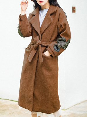 Women's Fashion Loose Mid-Long Woolen Coat gender:female, season:autumn,winter,spring, collar:lapel collar, texture:woolen, sleeve_length:long sleeve, sleeve_type:regular sleeve, style:japan and south korea, design:laced, dress_occasion:daily, bust:104,clothing length:88,shoulder width:39,