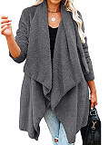 Image of Solid Color Long Sleeve Loose Lapel Cardigan Jacket
