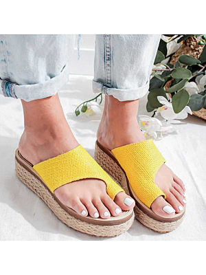 Hemp rope woven thick bottom fish mouth slippers, 11652743