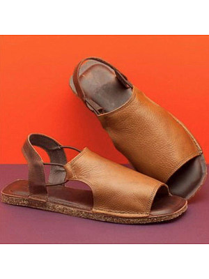 Berrylook Vintage Women Open Toe Flat Sandals clothing stores, cheap online shopping sites, Solid Sandals,