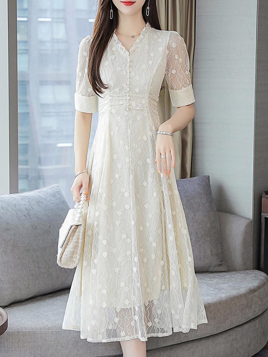 V-Neck Stylish Short Sleeve Printed Maxi Dress