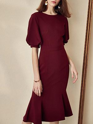 Round Neck Plain Bodycon Dress, 11343822