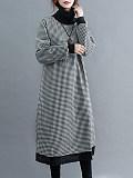 Image of Plush Long Sleeve Plaid High Neck A-Line Dress