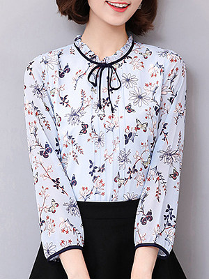Tie Collar Print Long Sleeve Blouse, 11270781
