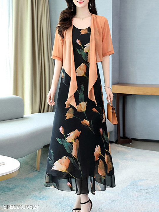 Printed Chiffon Two-piece Dress