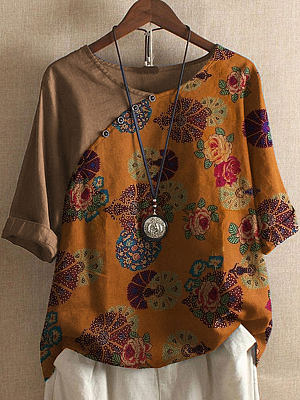 Cotton And Linen Casual Stitching Printed Short-sleeved Blouse, 24492747
