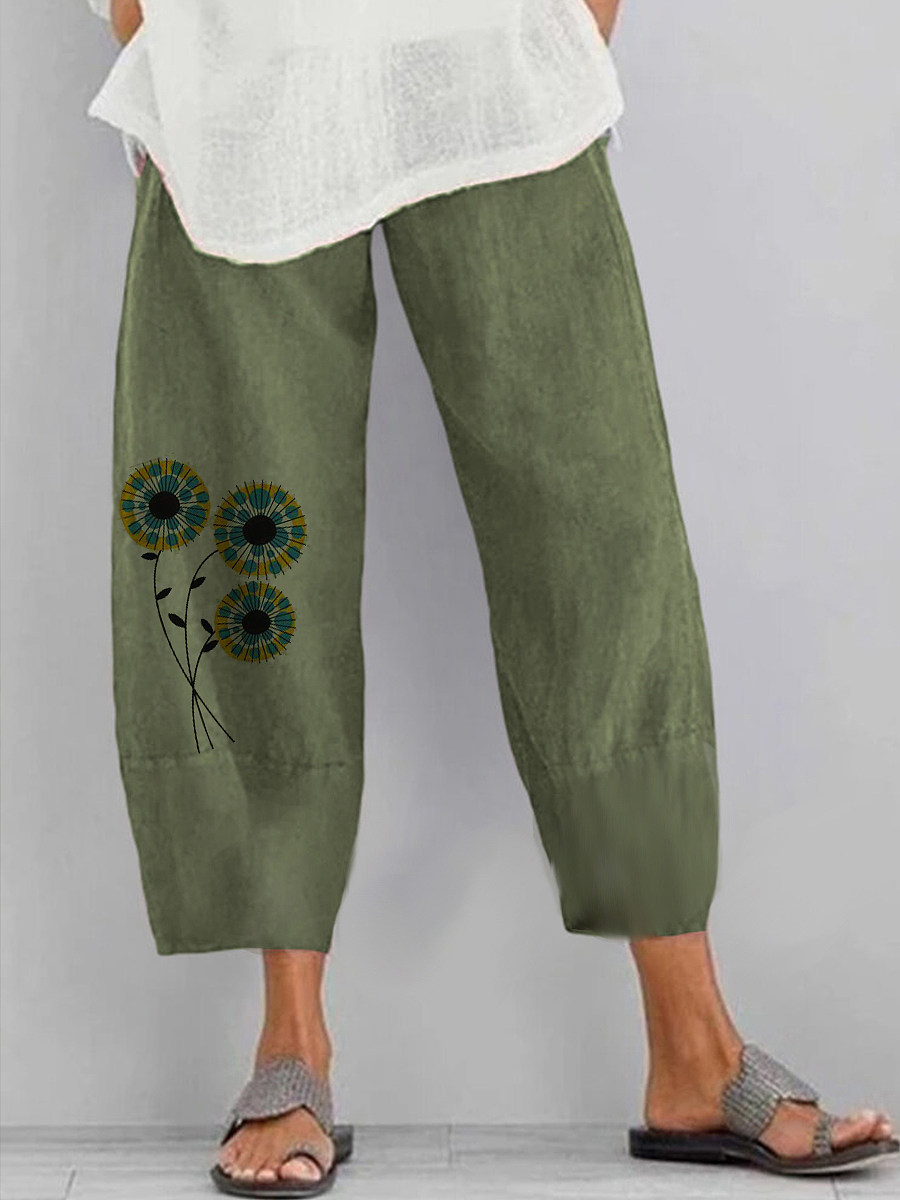 BerryLook Summer fresh green printed cotton and linen slacks