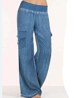 Fashion casual denim color cotton and linen casual pants