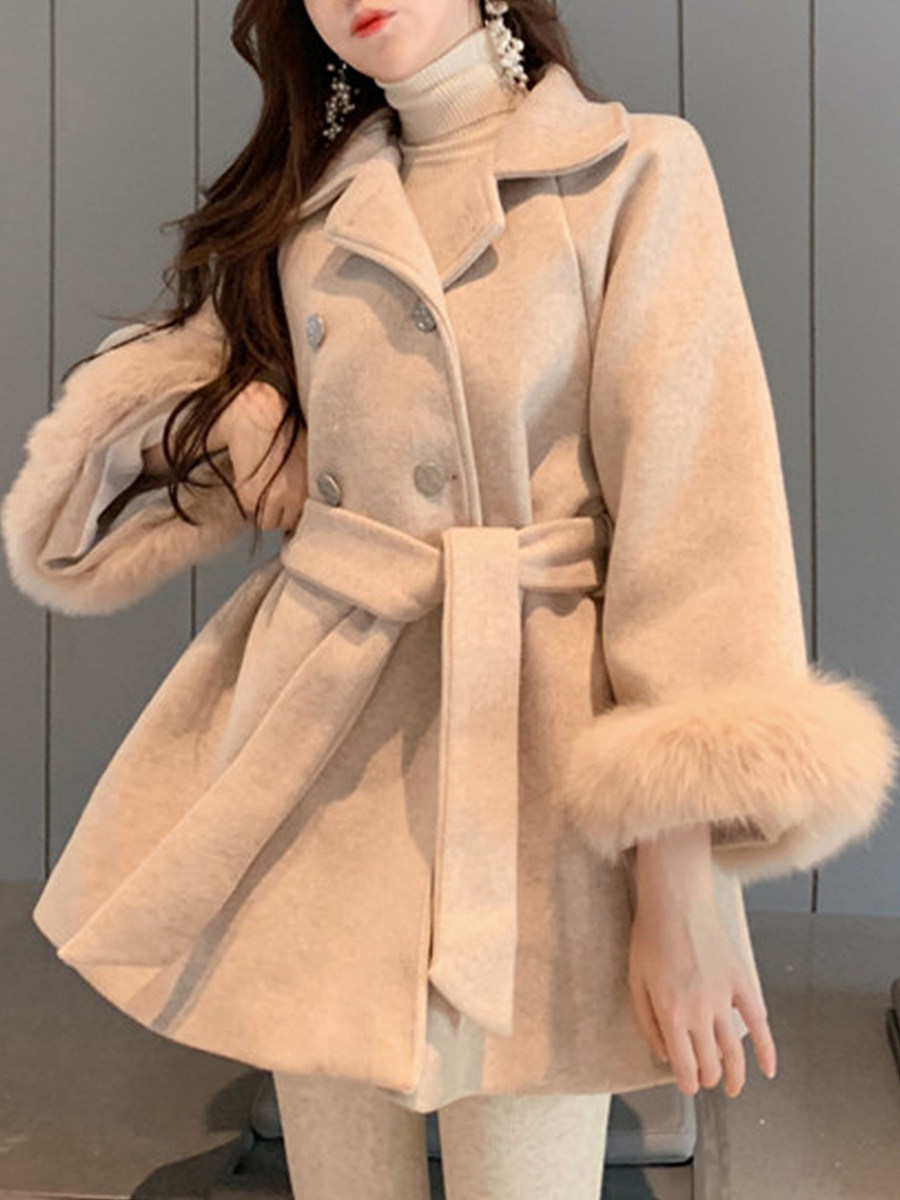Ladies Fashion Warm Solid Color Waist Plush Coat - from $38.95