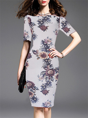 Round Neck Printed Bodycon Dress