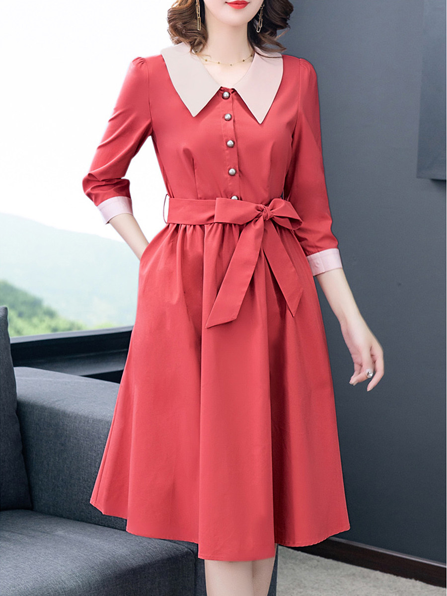 Fold-Over Collar Patch Pocket Color Block Skater Dress - from $28.95