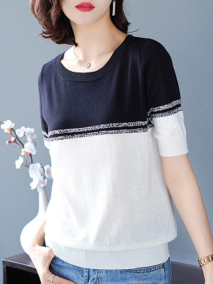 Round Neck Color Block Short Sleeve Knit T-shirt, 11397492