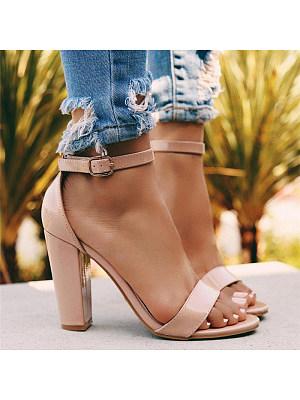 Wild One-Piece Buckle Heel Heel Open Toe Sandals, 11265855