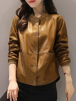 Women's Fashion Collar Short Leather Jacket gender:female, season:autumn,spring, collar:stand collar, texture:pu leather, sleeve_length:long sleeve, sleeve_type:regular sleeve, style:japan and south korea, collar_type:stand collar, dress_occasion:daily, bust:122,clothing length:64,shoulder width:43,