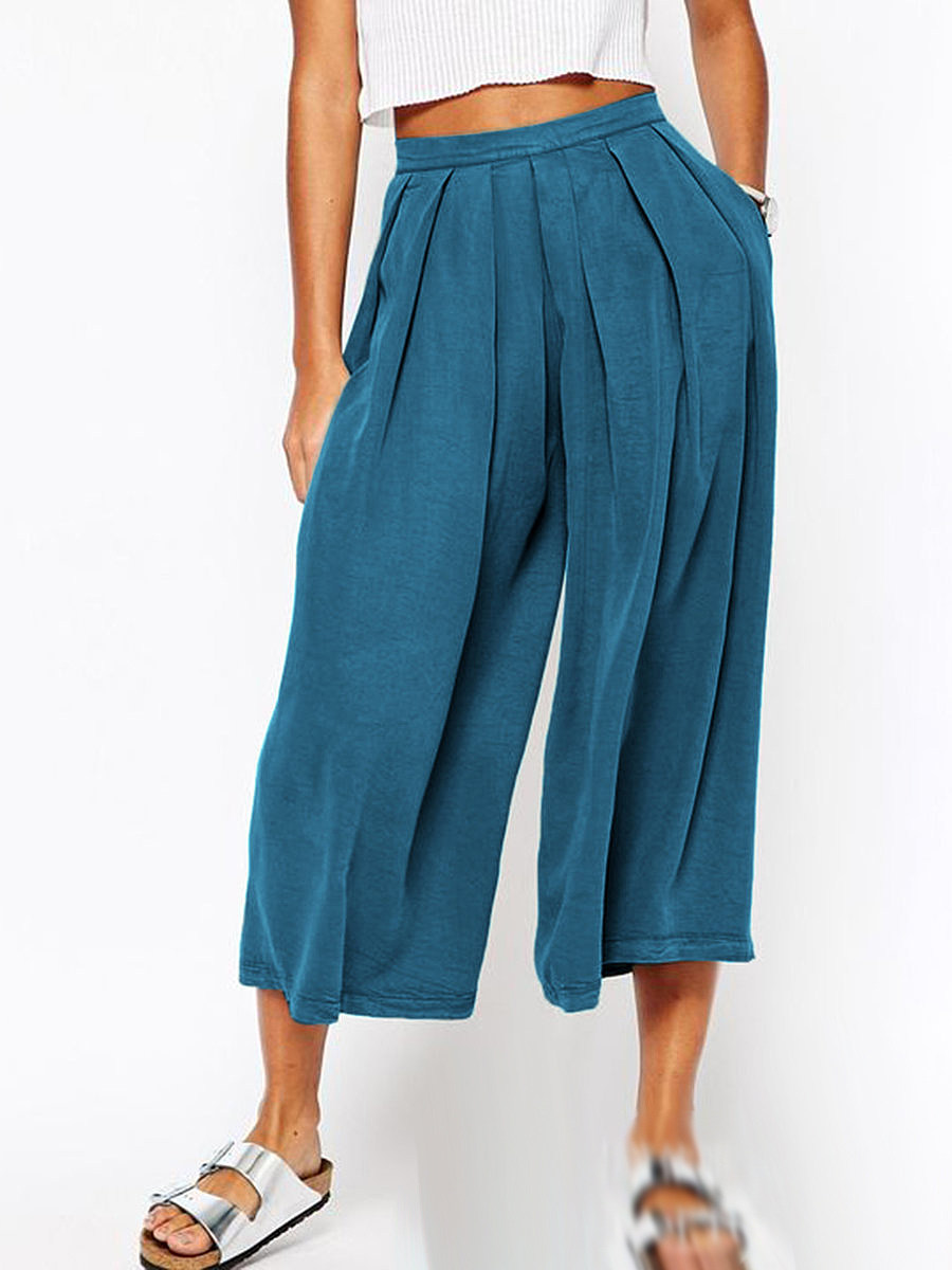 BerryLook Fashionable multicolor loose high waist pleated wide leg pants cropped pants
