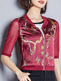 Image of All-match printed female V-neck jacket