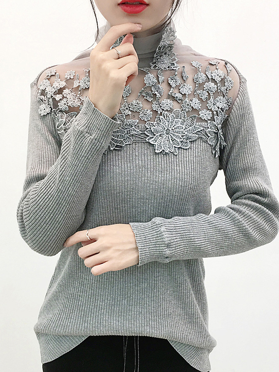 BerryLook Heap Collar Patchwork Elegant Lace Long Sleeve Knit Pullover