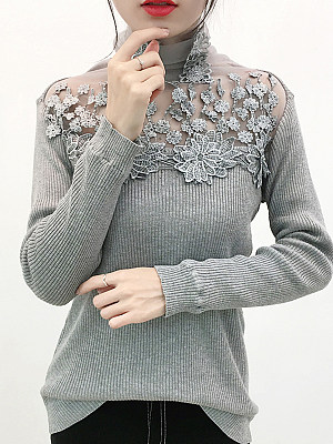 Heap Collar Patchwork Elegant Lace Long Sleeve Knit Pullover, 10527531