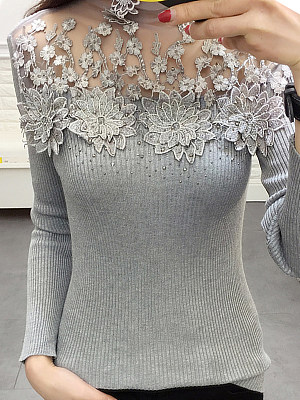 Heap Collar Patchwork Elegant Lace Long Sleeve Knit Pullover