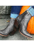 Image of Fashion thick heel mid-heel women's low-top Martin boots