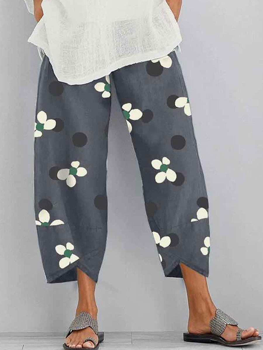 Casual Cotton And Linen Printed Casual Pants
