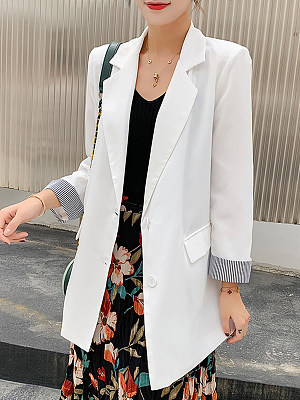 Casual lapel two-button cuff-paneled blazer фото