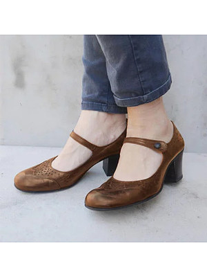 Women's Casual Solid Color Buckle Single Shoes, 10735952