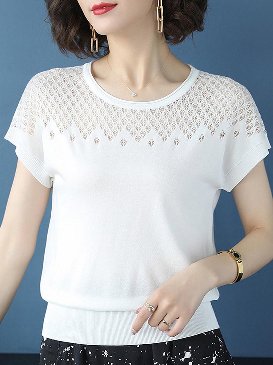 Round Neck Patchwork Short Sleeve Knit Pullover